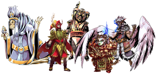 Party of Tegwyn Saga characters, left to right: tentacle-faced Sek'lar healer waving with his left hand, bark-skinned Wood Elf ranger holding a black squirrel, bear-like Basar phalanx with a glaive, female Black Dwarf warrior in heavy armor, and winged Dravwyn mage casting icy blue spell
